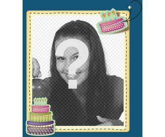 edit birthday card by adding digital picture frame to this blue background and reasons anniversary cakes print ur card or send them via email in simple and free