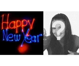 congratulates the new year with an animation with neon letters with ur background photo