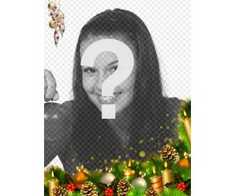 christmas greeting card with christmas decorations edges to put ur picture in the background