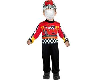 customizable photomontage of child dressed as race car driver