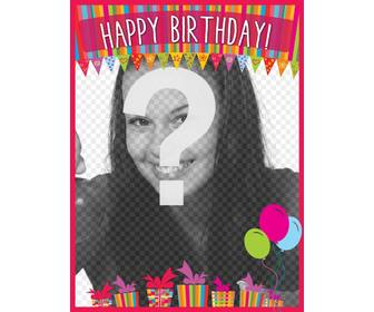 colorful birthday card with photo