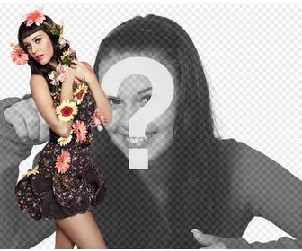 photomontage with singer katy perry with flowers and pinup style with black dress and black hair with bang