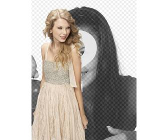 photomontage with taylor swift in bright dress to appear with her in photo and customize with text