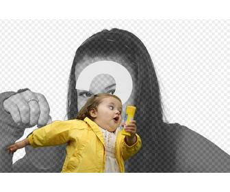 photomontage with the bubble girl in the yellow raincoat and the fashionable meme where u place ur photo and text