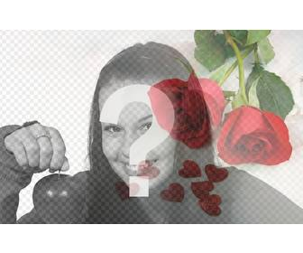 photomontage of love with red roses and hearts to overlay on ur photos with ur loved partner