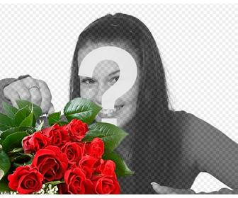 add romantic rose bouquet to ur photos to give to ur lover and add text online