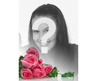 photomontage with pink roses with white gradient background to place ur romantic photos