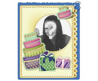 birthday card with cake and gifts sticker effect put the picture and the words of greeting u prefer