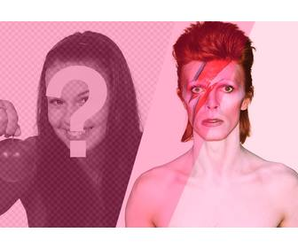 photomontage with david bowie with pink filter to add and edit ur photos online