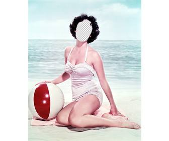 photomontage to put ur face in vintage girl in swimsuit