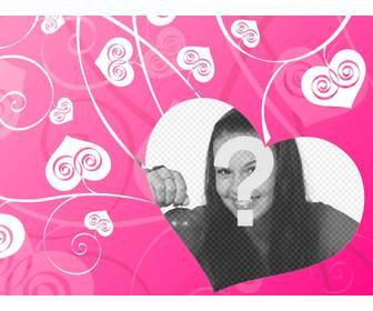 photomontage of love to decorate ur romantic photos with background of white hearts on pink ground creating an effect of love