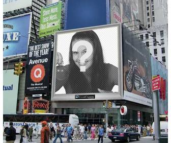 photomontage staff of an urban environment with an advertising screen among many posters ur photo appears on it u can send it as joke to ur friends