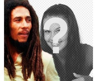 create photomontage with bob marley by ur side loading an image online and adding phrase free