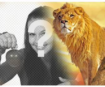 photomontage with lion and yellow background to put ur photo in the left cast to the image