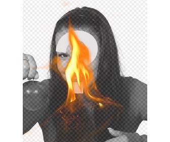 photomontage with filter with yellow flame of fire to put up ur photos and create incredible effects