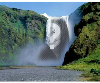 photomontage with waterfall in the middle of green mountain to put picture online for free