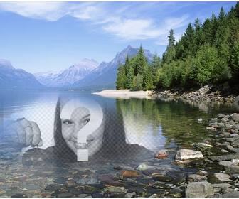 photomontage to put photo in the water of lake or river beside forest with trees and snow capped mountains