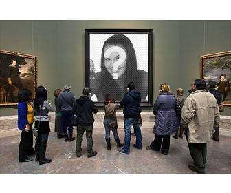 photomontage in the museo prado with visitors watching painting to put picture in the hole