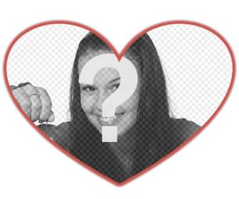 mask for photos with heart shape and red border which u can add background image