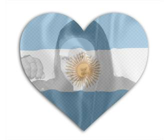 insert ur photo with the flag of argentina with heart shape background