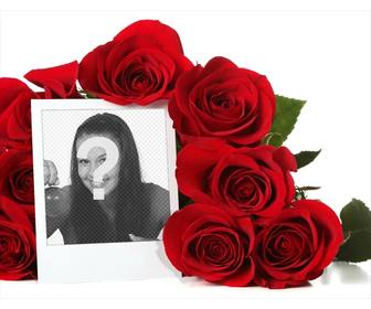 online photo frame surrounded by bouquet of roses