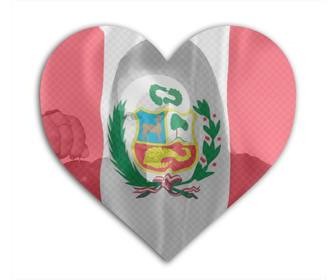 photomontage online to add photo of urself with the flag of peru background with heart shape