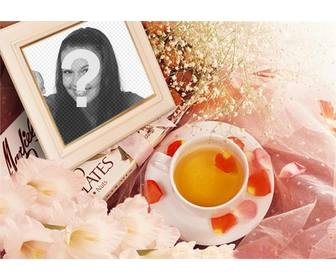 photo frame with flowers to put ur picture with rose petals and cup of tea