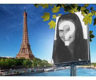 photomontage with the city of paris and the eiffel tower on background to put ur picture on billboard
