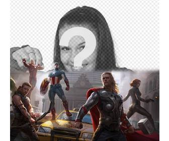 photomontage of the first avengers defending the city with ur photo above