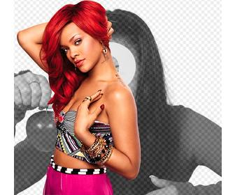 photomontage of rihanna with blood red hair looking straight into the camera with intensity
