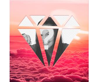 photomontage around pink clouds to place ur photo in diamond shape