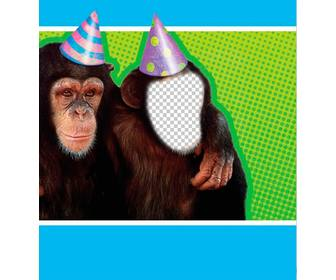 photomontage with monkey dressed with party hat