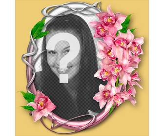 photo frame with orchid on an ornamental circle with ur photo