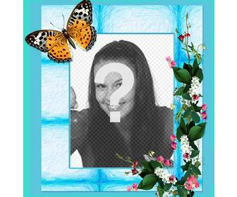 photo frame for ur photos with flowers and butterfly on blue background