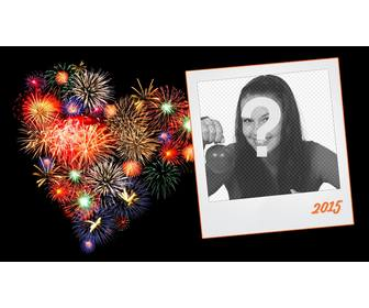 frame for new year 2018 photos with polaroid