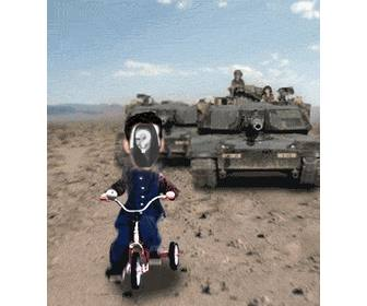 customized animation saddam hussein chased by tank