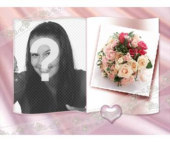 photo frame with book and little heart roses and ornamental center