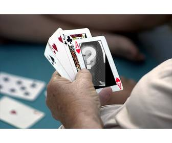 photomontage to put ur photo on an ace of hearts in poker game