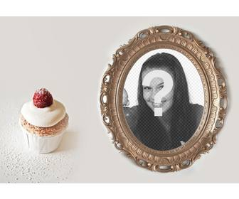 collage of golden photo frame with cupcake