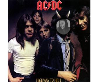 photomontage with the cover of highway to hell ac dc bon scott wequotll be with horns