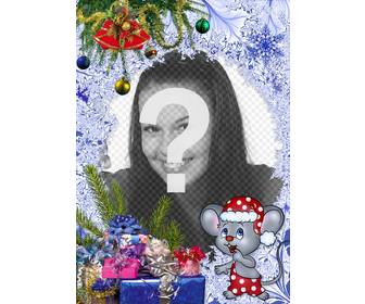 childrens christmas postcard to put ur picture next to christmas mouse