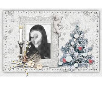 christmas card to personalize with ur photo tree and candle