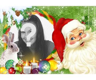 photomontage with santa claus and bunny surrounded by christmas balls and candles