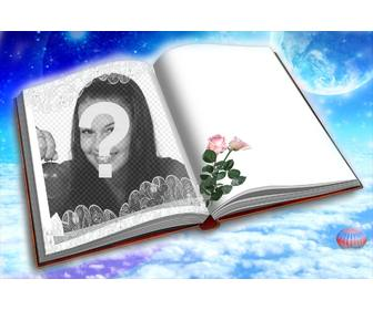 photomontage to put ur photo in book with two roses