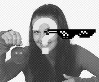 pixelated glasses sticker deal with it meme