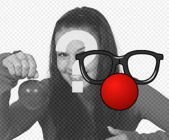 Glasses and a red clown nose that you can put in your photos as a sticker.