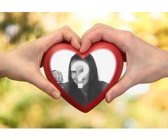 photomontage of two hands with heart for ur photo