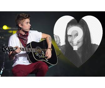 upload ur picture inside heart and with justin bieber