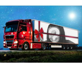 photo effect of christmas truck to upload photo