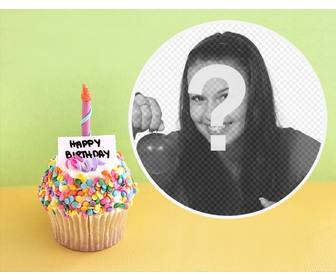 photo effect with birthday cupcake for ur photo